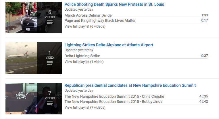The YouTube Newswire is made up of playlists around the biggest news stories of the day