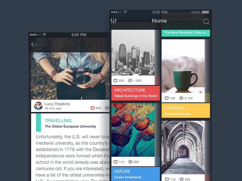 Blog app concept by Tubik Studio