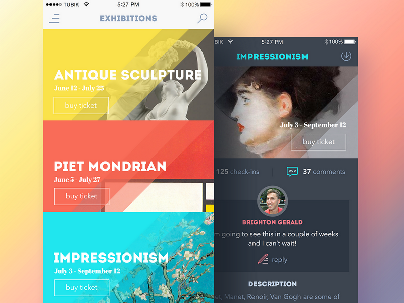 Art Gallery app concept by Tubik Studio