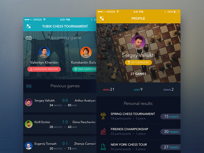 Chess app concept by Tubik Studio
