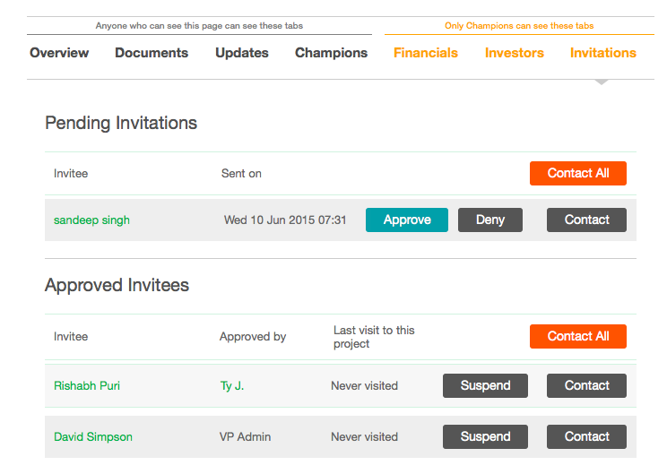 invitations tab